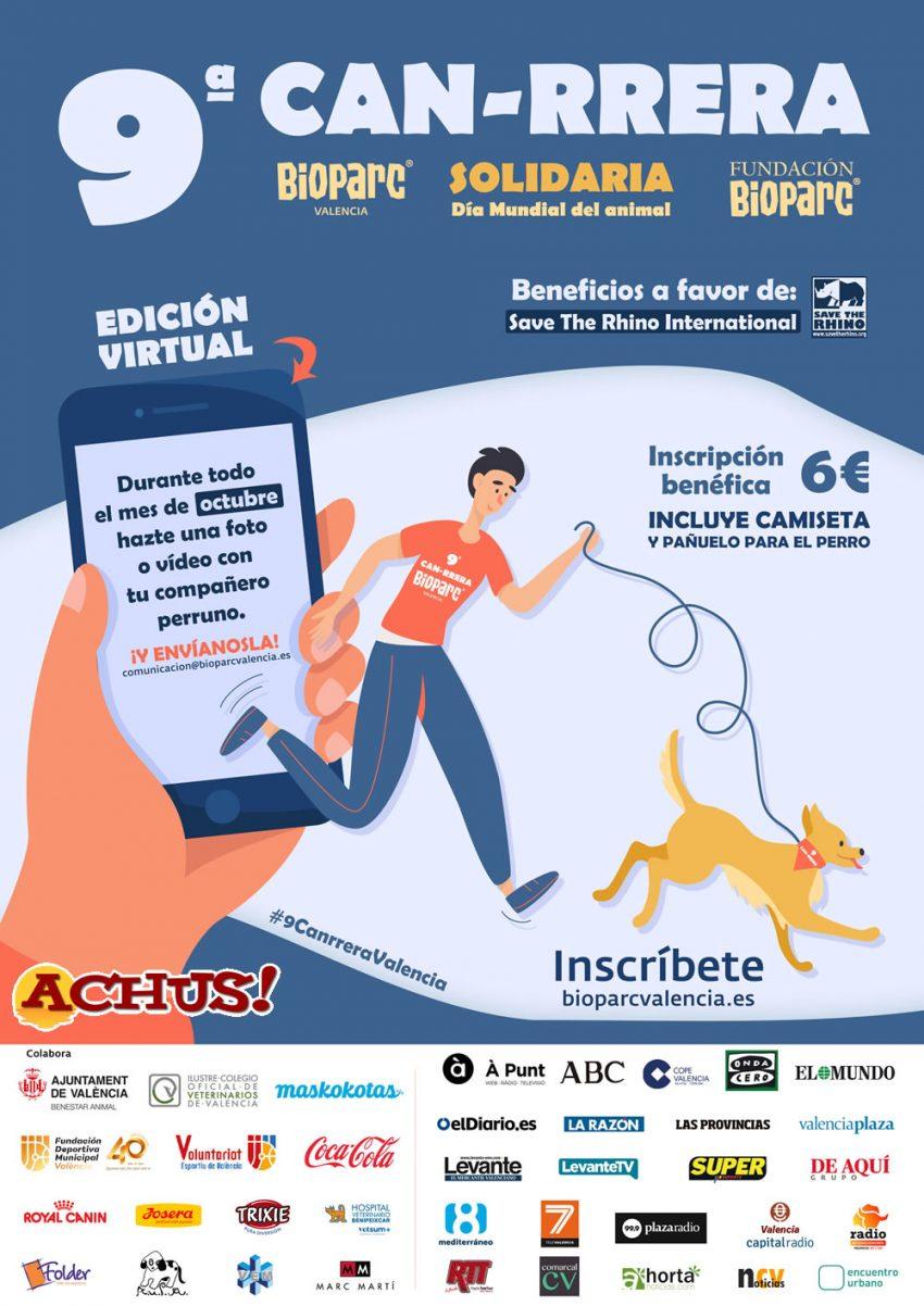 Octubre el mes para participar en la 9ª Can-rrera solidaria de Bioparc Valencia que será virtual